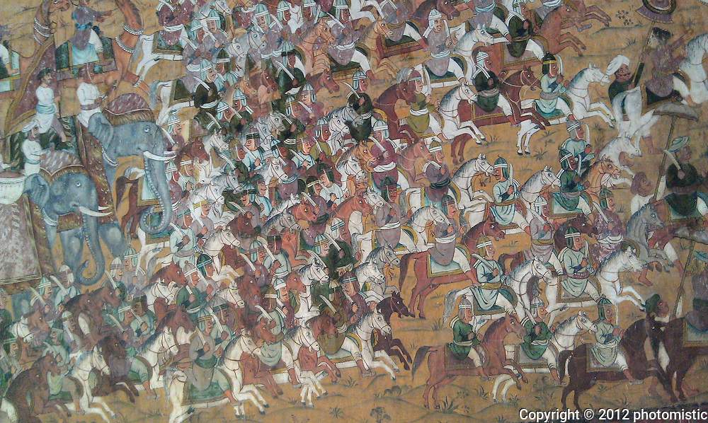 mural inside Tipu Sultan's summer palace where he was slaughtered by the British
