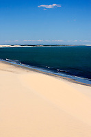 view of the big sand dune of the beautiful fisherman village of Jericoacoara in ceara state brazil