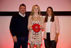 NEWPORT, WALES - Saturday, May 19, 2018: Jess Pascoe is presented with her Under-16's cap by Osian Roberts (left) and Lauren Dykes (right) during the Football Association of Wales Under-16's Caps Presentation at the Celtic Manor Resort. (Pic by David Rawcliffe/Propaganda)