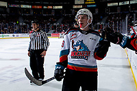 KELOWNA, BC - FEBRUARY 15: Ethan Ernst #19 of the Kelowna Rockets celebrates a goal against the Red Deer Rebels at Prospera Place on February 15, 2020 in Kelowna, Canada. (Photo by Marissa Baecker/Shoot the Breeze)