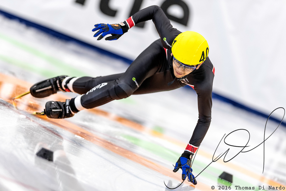 December 17, 2016 - Kearns, UT - Jon Ricardo Aquino skates during US Speedskating Short Track Junior Nationals and Winter Challenge Short Track Speed Skating competition at the Utah Olympic Oval.