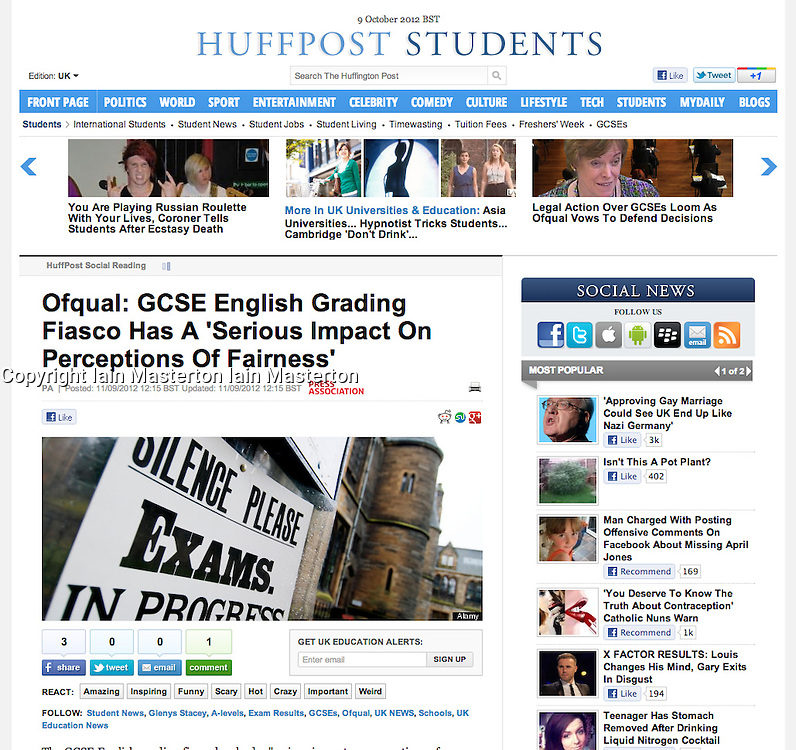 Huffington Post; Examination sign at university