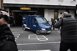 © Licensed to London News Pictures. 06/12/2017. London, UK. An armored Police vehicle carrying terror suspects Naa'imur Zakariyah Rahman, 20, and Mohammed Aqib Imran, 21,. leaves Westminster Magistrates Court in London where they are accused of plotting an attack at Downing Street to kill British prime minister Theresa May. Photo credit: Ben Cawthra/LNP