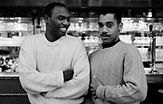 Carl Craig and Kenny Larkin standing at a bar 1993