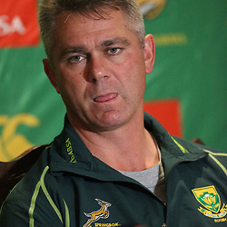 DURBAN, SOUTH AFRICA - JUNE 03: Springbok coach Heyneke Meyer during the Springboks media conference at Kashmir Restaurant on June 03, 2013 in Durban, South Africa. (Photo by Steve Haag/Gallo Images)
