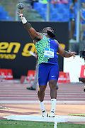 Darrell Hill (USA) places second in the shot put at 71-2 3/4 (21.71m) during the 39th Golden Gala Pietro Menena in an IAAF Diamond League meet at Stadio Olimpico in Rome on Thursday, June 6, 2019. (Jiro Mochizuki/Image of Sport)