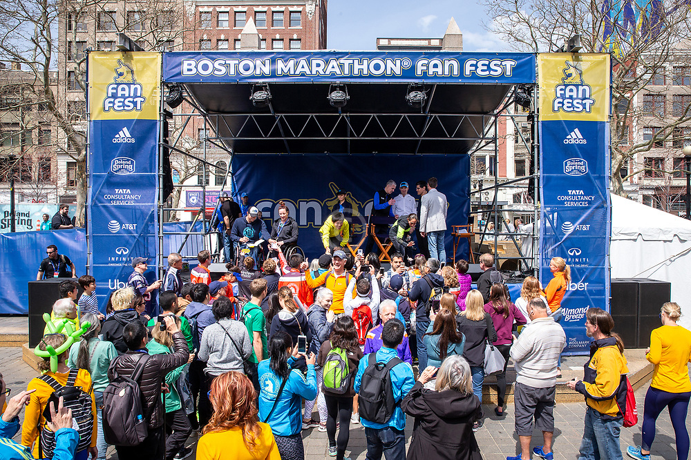 presentation of check at FanFest in Copley Square<br /> Abbott World Marathon Majors<br /> at Boston Marathon weekend