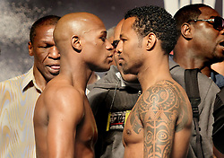 April 30, 2010: Las Vegas, NV; USA;  Floyd Mayweather and Shane Mosley weigh-in for their upcoming bout at MGM Grand Garden Arena.  The two will meet Saturday night in a 12 round welterweight bout.