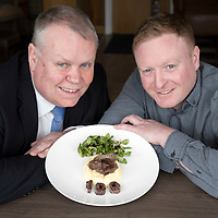 The Townhouse in Aberfeldy, Perthshire receives a Taste Our Best award from VisitScotland. Pictured Jim Clarkson VisitScotland's Regional Partnerships Director (left) and Blair Girvan owner of The Townhouse with a specially created pan seared wood pidgeon breast on parsnip mash with a lambs leaf salad & stornoway black pudding to mark the occasion<br />
