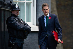 © Licensed to London News Pictures. 29/10/2018. London, UK. Defence Secretary Gavin Williamson arriving in Downing Street for a cabinet meeting, ahead of the Chancellor of the Exchequer Philip Hammond's autumn budget statement this afternoon. Photo credit : Tom Nicholson/LNP