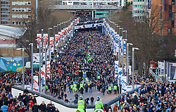 LONDON, ENGLAND - Sunday, February 28, 2016: Liverpool and Manchester City supporters walk up Wembley Way before the Football League Cup Final match at Wembley Stadium. (Pic by David Rawcliffe/Propaganda)