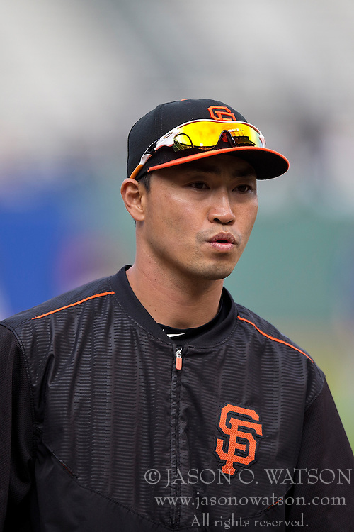 SAN FRANCISCO, CA - MAY 20:  Nori Aoki #23 of the San Francisco Giants looks on during batting practice before the game against the Los Angeles Dodgers at AT&T Park on May 20, 2015 in San Francisco, California.  The San Francisco Giants defeated the Los Angeles Dodgers 4-0. (Photo by Jason O. Watson/Getty Images) *** Local Caption *** Nori Aoki