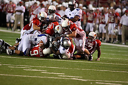 20 September 2008: Chevron Walker holds tight to the ball as he is forced to the bottom of the dog pile during Illinois State Redbirds home opener lose to the #20 ranked Eastern Illinois Panthers at Hancock Stadium on the campus of Illinois State University in Normal Illinois. Final score was 25-21.