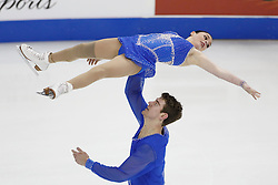 Haven Denney and Brandon Frazier perform during the championship pairs free skate competition at the U.S. Figure Skating Championships Saturday, Jan. 21, 2017, in Kansas City, Mo. (AP Photo/Colin E. Braley)