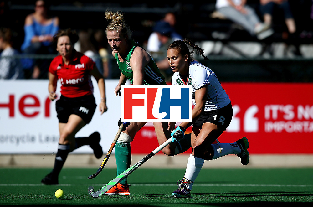 JOHANNESBURG, SOUTH AFRICA - JULY 10:  Lisa Altenburg of Germany battles with Hannah Matthews of Ireland during day 2 of the FIH Hockey World League Women's Semi Final Pool A match between Germany and Ireland at Wits University on July 10, 2017 in Johannesburg, South Africa.  (Photo by Jan Kruger/Getty Images for FIH)