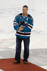Feb 8, 2012; San Jose, CA, USA; San Jose Sharks former captain Owen Nolan is honored before the game against the Calgary Flames at HP Pavilion. Mandatory Credit: Jason O. Watson-US PRESSWIRE