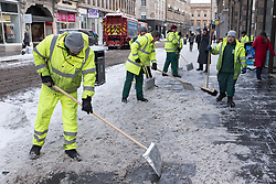 "© Licensed to London News Pictures. 28/02/2018. <br /> <br /> Council workers clear the street in Glasgow, Scotland as the city is hit with snow storm ""Beast from the East"" on 28th February 2018.<br /> <br /> Photo credit should read Max Bryan/LNP"