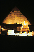 The Sphinx and Great Pyramid at night, at Giza, Egypt