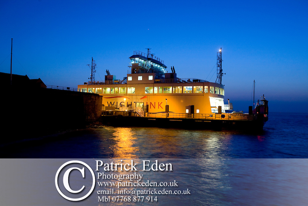 Wightlink, Car, Ferry, Yarmouth Pier, Dusk, Yarmouth, Isle of Wight, England, UK, photography photograph canvas canvases