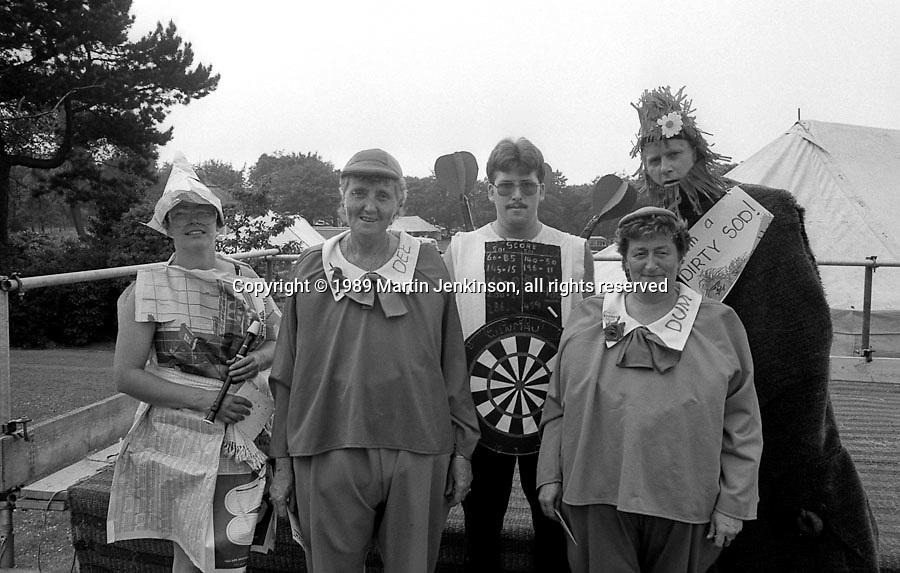 Adult fancy dress. 1st at Front Jean Walker and Sheila Close, Thurcroft; back row; 3rd Jane Cook, Grimethorpe; 2nd Trevor Mills, Frickley; 4th David Rose, Treeton. NUM Centenary Demonstration and Gala, Barnsley.