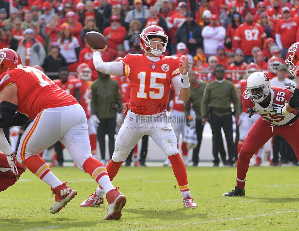 Nov 11, 2018; Kansas City, MO, USA; Kansas City Chiefs quarterback Patrick Mahomes (15) throws a pass during the first half against the Arizona Cardinals at Arrowhead Stadium. Mandatory Credit: Denny Medley-USA TODAY Sports