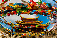 Prayer flags, Guishan Gongyuan Temple, Shangri La (Zhongdian), Yunnan Province, China.