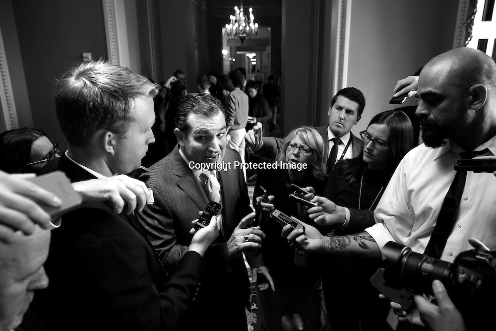 U.S. Senator Ted Cruz (R-Texas), one of the chief architects of the lengthy federal government shutdown that reportedly cost the U.S. more than $2 billion in lost productivity, speaks to reporters on his way to a vote during the shutdown, at the U.S. Capitol in Washington, October 12, 2013.