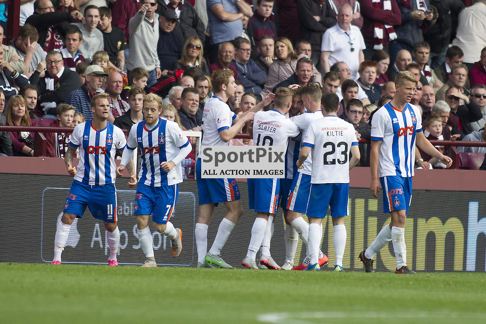 Conrad Balatoni of Kilmarnock (out of picture) scores to make it 1-1 during the Ladbrokes Scottish Premiership match between Heart of Midlothian FC and Kilmarnock FC at Tynecastle Stadium on October 4, 2015 in Edinburgh, Scotland. Photo by Jonathan Faulds/SportPix