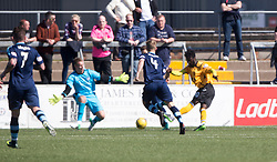 Annan Athletic's Smart Osadolor scoring their second goal. half time : Forfar Athletic 1 v 3 Annan Athletic, Scottish Football League Division Two game played 6/5/2017 at Station Park.