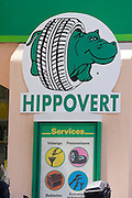 "Tyres by Hippovert - ""The Green Hippo""."