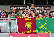 Iarla Hughes Captain Kiltale Co Meath raise the trophy for his team who beat Muinebheag  in the Hurling Division 3 final  at Pearse Stadium during the Feile na Gael 2011. Photo:Andrew Downes