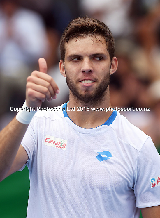 Czech Republic's Jiri Vesely celebrates his win during his first round singles match on day 1 at the Heineken Open. Festival of Tennis, ATP World Tour. ASB Tennis Centre, Auckland, New Zealand. Monday 12 January 2015. Copyright photo: Andrew Cornaga/www.photosport.co.nz
