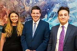 Pictured: Kate Eltringham, Jamie Hepburn and Ruairidh Kilgour<br /> Minister for Employability and Training Jamie Hepburn visited Ernst and Young (EY) in Edinburgh today (15 May) to comment on the latest Labour Market statistics.  While there Mr Hepburn met apprentices Ruairidh Kilgour and Kate Eltringham, Laura Sleigh and Emma Jones, EY Recruitment and Margaret Gibson, OBE, EY Foundatio Scotland Hub Leader.<br /> <br /> Ger Harley | Edinburgh Elite Media