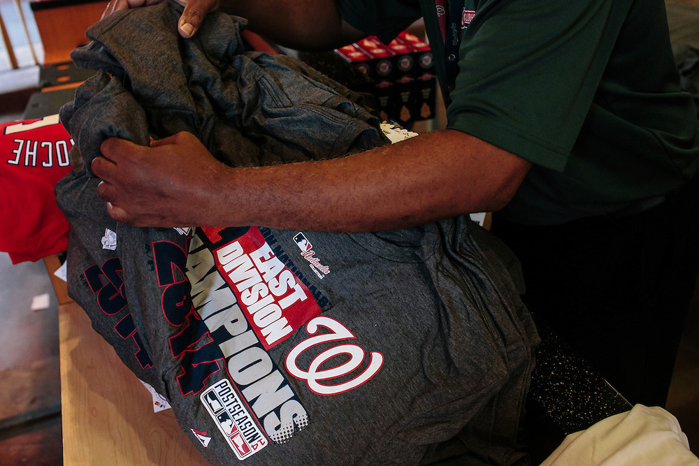 Division championship merchandise is displayed at the Washington Nationals Clubhouse Team Store at the Nationals Park in Washington, D.C. on Thursday, Sept. 18, 2014. The Nationals and Baltimore Orioles clinched the first two post season spots within hours of one another.