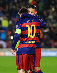 Neymar of Barcelona hugs Lionel Messi - Mandatory byline: Matt McNulty/JMP - 16/03/2016 - FOOTBALL - Nou Camp - Barcelona,  - FC Barcelona v Arsenal - Champions League - Round of 16