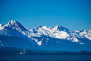 A fishing boat travels up the Lynn Canal in front of the snowcapped Chilkat Mountains, in Juneau, Alaska, February 7, 2017. <br /> Photo by David Lienemann