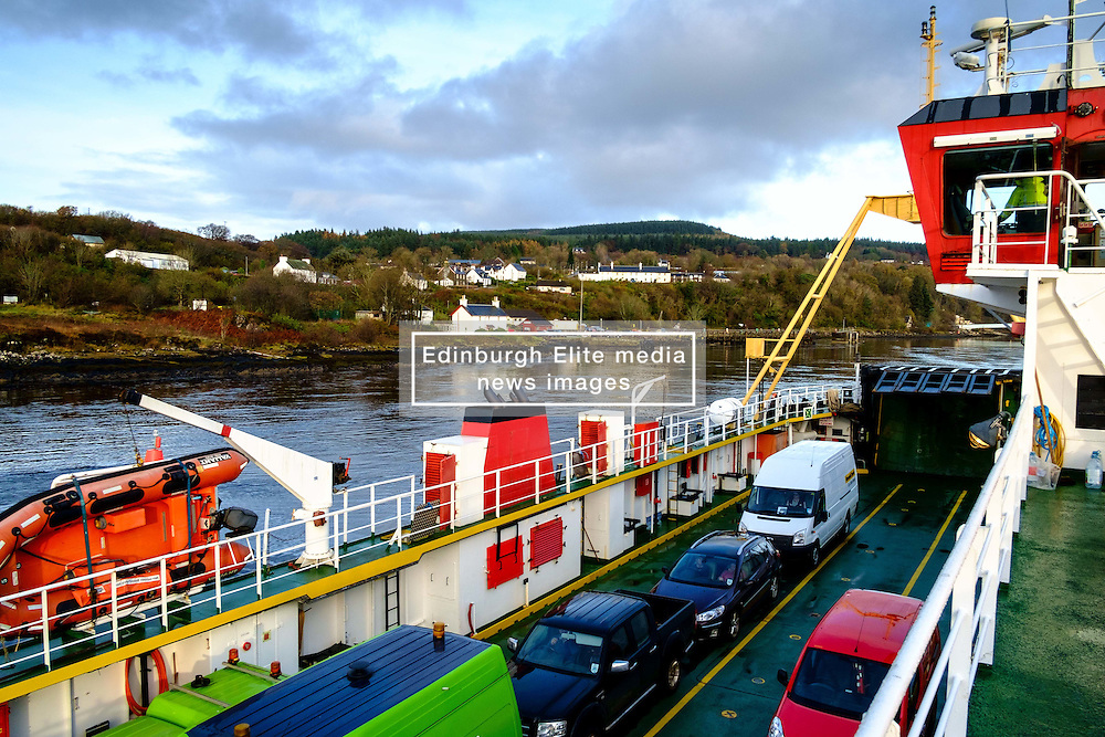 The car deck on the car ferry from Fishnish in Mull as she approaches Lochaline on the Scottish mainland.<br /> <br /> (c) Andrew Wilson   Edinburgh Elite media