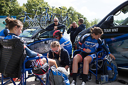 Anna Badegruber (AUT) of Team WNT gets a final leg rub before Stage 2 of the Ladies Tour of Norway - a 140.4 km road race, between Sarpsborg and Fredrikstad on August 19, 2017, in Ostfold, Norway. (Photo by Balint Hamvas/Velofocus.com)