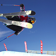 Rose Battersby, New Zealand, in action during her fifth place finish in the Women's Halfpipe Finals during The North Face Freeski Open at Snow Park, Wanaka, New Zealand, 3rd September 2011. Photo Tim Clayton...