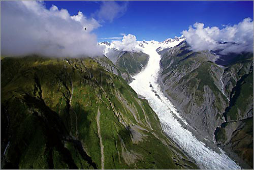 an aerial view of the fox glacier on a late january afternoon.<br /> <br /> the fox glacier is located on the western side of new zealand's south island.