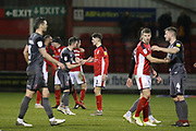 Players shake hands after a hard fought game during the EFL Sky Bet League 2 match between Crewe Alexandra and Lincoln City at Alexandra Stadium, Crewe, England on 26 December 2018.