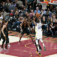 CLEVELAND, OH - JUN 3: Kevin Durant #35 of the Golden State Warriors takes a jump shot in Game Three of the 2018 NBA Finals won 110-102 by the Golden State Warriors over the Cleveland Cavaliers at the Quicken Loans Arena on June 6, 2018 in Cleveland, Ohio. NOTE TO USER: User expressly acknowledges and agrees that, by downloading and or using this photograph, User is consenting to the terms and conditions of the Getty Images License Agreement. Mandatory Copyright Notice: Copyright 2018 NBAE (Photo by Chris Elise/NBAE via Getty Images)