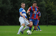 Jake Gray looks to beat his man during the U21 Professional Development League match between U21 QPR and U21 Crystal Palace at the Loftus Road Stadium, London, England on 31 August 2015. Photo by Michael Hulf.