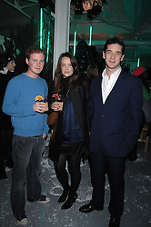 Left to right, GUY PELLY, ARABELLA MUSGRAVE and the HON.JAMES TOLLEMACHE at a party to present the Fall/Winter Collection 2007/2008 of Moncler the French mountaineering brand held at 10 Mercer Street, London WC2 on 13th February 2007.<br />