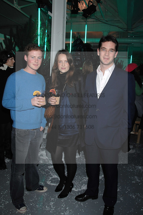 Left to right, GUY PELLY, ARABELLA MUSGRAVE and the HON.JAMES TOLLEMACHE at a party to present the Fall/Winter Collection 2007/2008 of Moncler the French mountaineering brand held at 10 Mercer Street, London WC2 on 13th February 2007.<br /><br />NON EXCLUSIVE - WORLD RIGHTS
