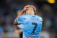 SYDNEY, AUSTRALIA - APRIL 06: Sydney FC defender Michael Zullo (7) holds his head at round 24 of the Hyundai A-League Soccer between Sydney FC and Melbourne Victory on April 06, 2019, at The Sydney Cricket Ground in Sydney, Australia. (Photo by Speed Media/Icon Sportswire)