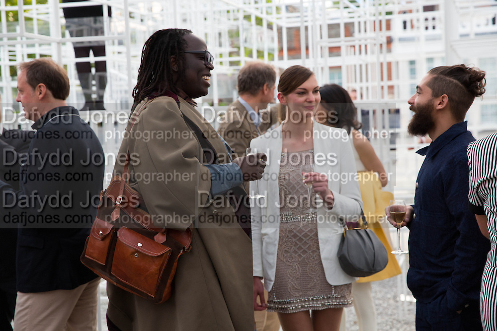 DAVID OKUMU; ROSIE LOWE; DANIEL TUFFIN, The Serpentine Summer Party 2013 hosted by Julia Peyton-Jones and L'Wren Scott.  Pavion designed by Japanese architect Sou Fujimoto. Serpentine Gallery. 26 June 2013. ,