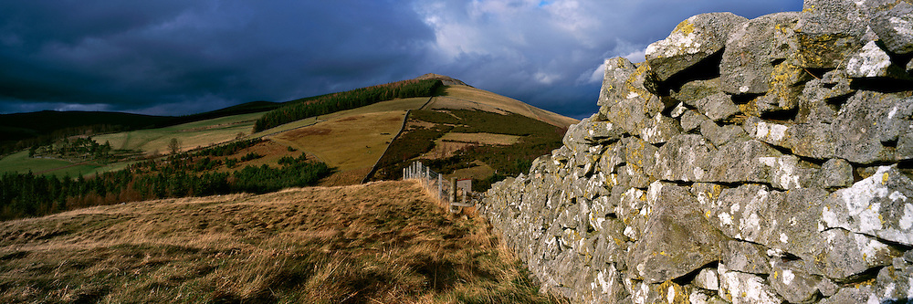 Lee Pen above the town of Innerleithen in the Scottish Borders in late afternoon dramatic light