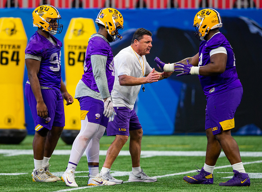 The Louisiana State Tigers practice at Mercedes Benz Stadium on Dec. 26, 2019, in Atlanta. Oklahoma will face LSU in the 2019 College Football Playoff Semifinal at the Chick-fil-A Peach Bowl. (Jason Parkhurst via Abell Images for the Chick-fil-A Peach Bowl)