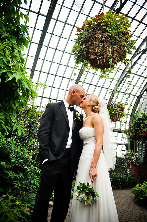 Jane and Jim under a hanging plant at Garfield Park Conservatory, Chicago IL